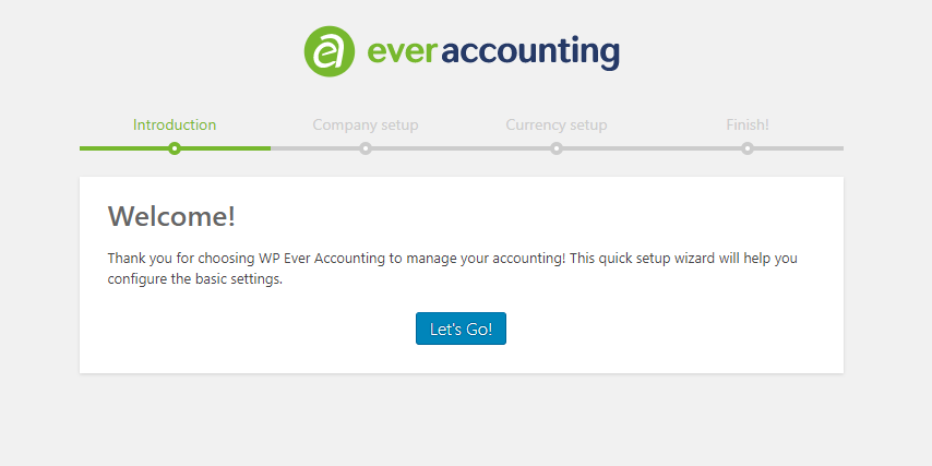 Welcome page - WP Ever Accounting