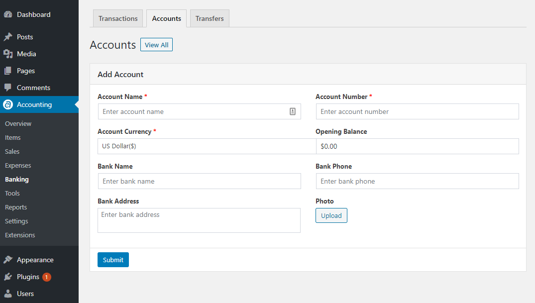 Add Account WP Ever Accounting