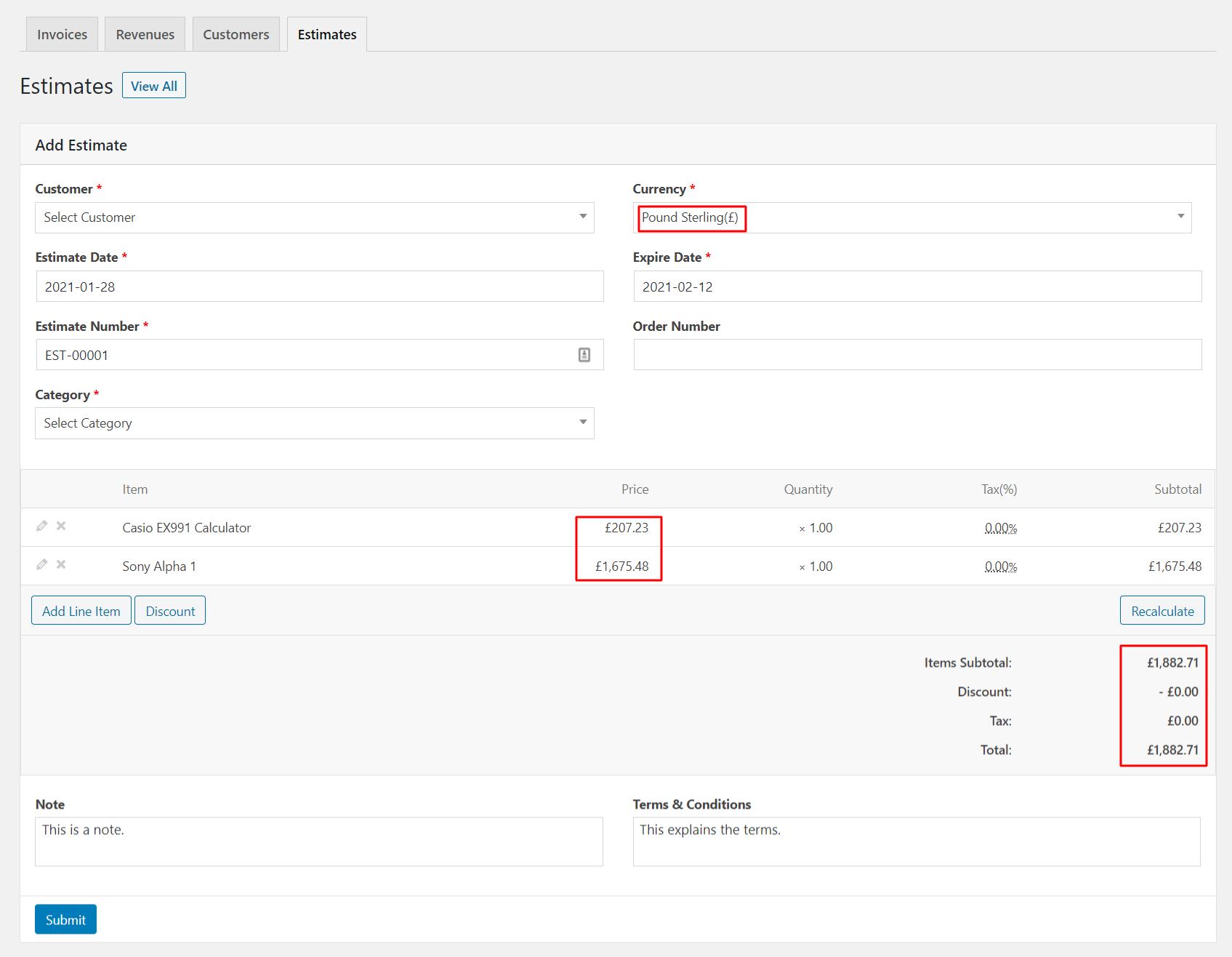 Price in Invoice