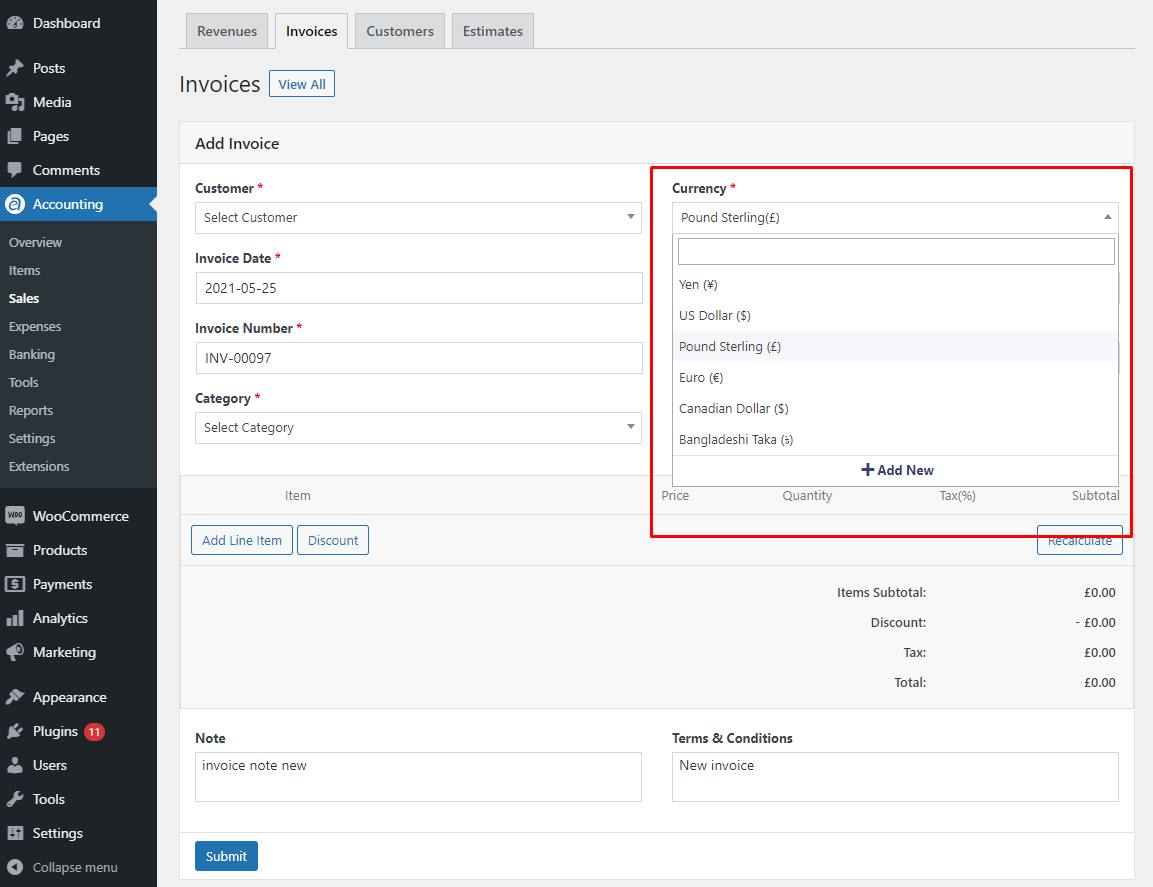 Add currency to invoice