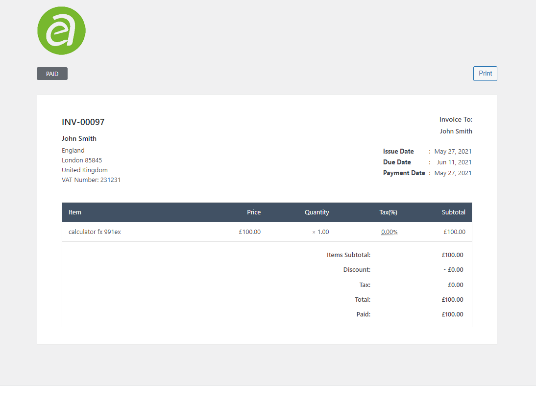 Generate invoice using WP Ever Accounting