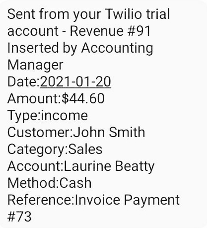 Twilio Revenue SMS